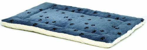 (Reversible Paw Print Pet Bed in Blue / White, Dog Bed Measures 17L x 11W x 1.5H for