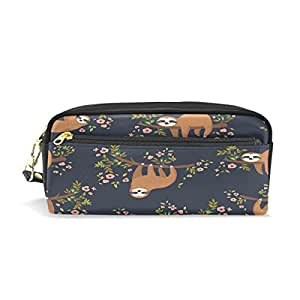 ALAZA Sloth On Tree Floral Pencil Case Zipper PU Leather Cosmetic Makeup Bag Multifunction Pen Stationery Pouch Bag Large Capacity