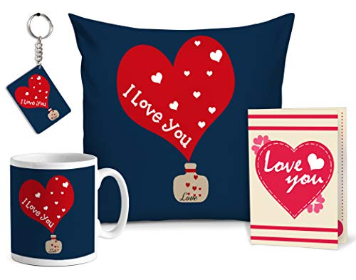 - TIED RIBBONS I Love You Combo Pack(Throw Pillow with Insert, Coffee Mug, Greeting Card and Keyring) Gift for Girlfriend Boyfriend Husband Wife Him Her