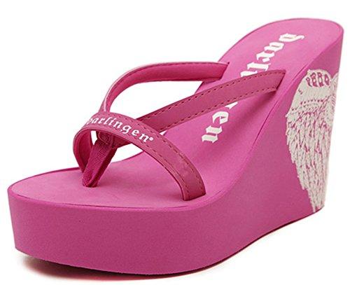 9c5bb7afecf IDIFU Women s Trendy Printed High Heels Wedge Platform Flip Flops Sandy  Thong Sandals Rose Red 6.5 B(M) US - Buy Online in UAE.