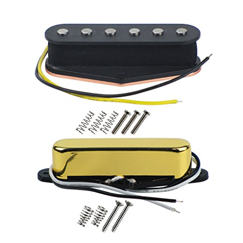 FLEOR Alnico 5 Guitar Pickups Set Tele Bridge Pickup w/Neck Pickup (Golden) Fit Fender Telecaster Pickups Part