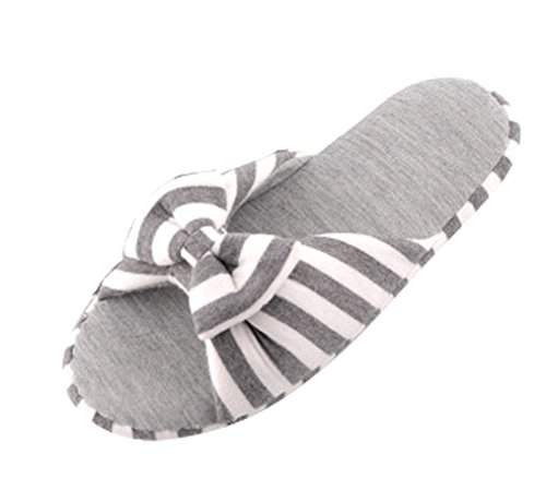 Cattior Womens Bow Cotton Cute Slippers Ladies Slipper Grey