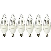 AmazonBasics 40 Watt Equivalent, Soft White, Dimmable, B11 LED Light Bulb   6-Pack