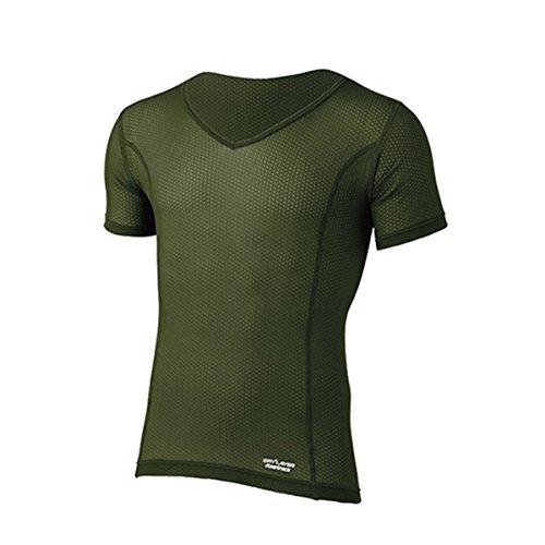 同志プレビューしたがってファイントラック finetrack Men's スキンメッシュ V-ネックTシャツ FUM0417 (OD)