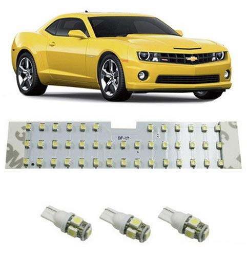 iJDMTOY 4PCS 57-Diode Exact Fit Full LED Light Package For 2010-2015 Chevrolet Camaro Interior Map Dome Light, Trunk Area Light and License Plate Lights, Xenon White