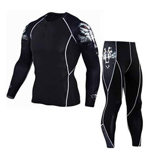 - Man Leggings Set, Neartime Fashion Workout Fitness Tracksuits Running Yoga Athletic Pants+Shirt Suit (L, White)