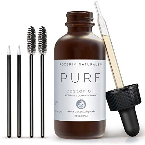 Foxbrim Organic Castor Oil - 100% Pure - Hexane Free - Grow Eye Lashes and Eye Brows - For Hair Skin and Nails - With Applicator Wand and Brush Kit - 2oz (Best Anti Aging Night Cream For Oily Skin In India)