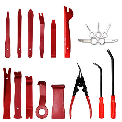 GLK Car Trim Removal Tool Door Panel Removal Tool for Car Radio Clips Window Molding Upholstery Marine Fastener Removal and Installation with Storage Bag Nylon Pry Tool 19PCS(red) by GLK (Image #1)
