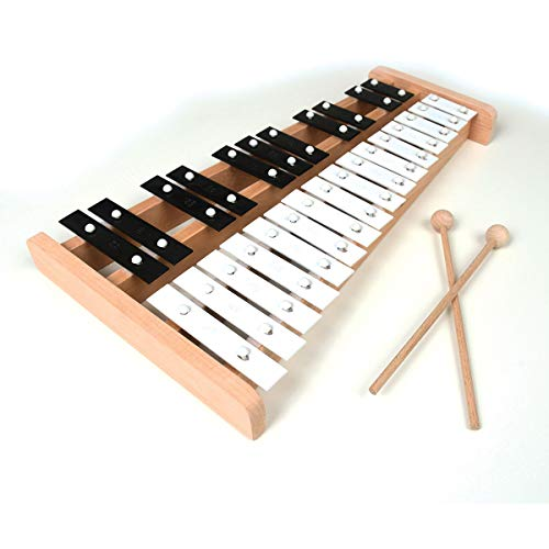 Professional Wooden Soprano Full Size Glockenspiel Xylophone with 27 Metal Keys for Adults & Kids - Includes 2 Wooden Beaters