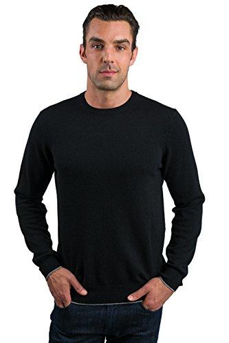 JENNIE LIU Men's 100% Cashmere Long Sleeve Crewneck Sweater (Large, Black) by JENNIE LIU