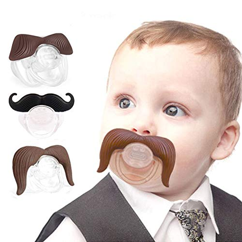 Baby Funny Pacifier Cute Kissable Mustache Lid Pacifier for Babies and Toddlers Unisex - BPA Free Latex Free Made with Silicone -Pack of 3 (Black&Coffee) ()