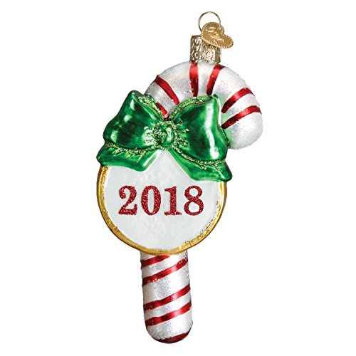 Old World Christmas Glass Blown Ornament with S-Hook and Gift Box, Sweets Collection (2018 Candy (Candy Cane Gift Box)