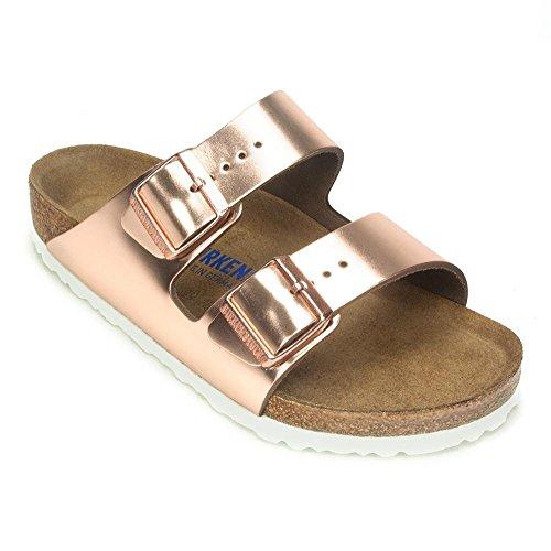 Birkenstock Arizona White Copper Soft Footbed Leather Sandal 38 R (US Women's 7-7.5) (Birkenstock Soft Sandals)
