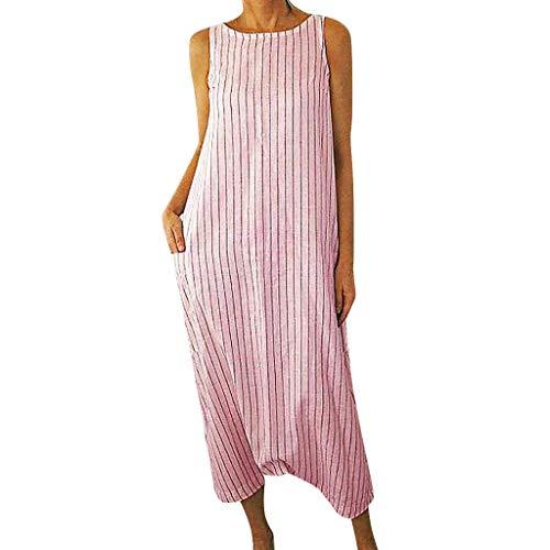 Huifa 2019 Summer Fashion Women Striped Printed Sleeveless Dress O Neck Pocket Long Gown (Pink,L)