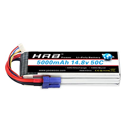 - HRB 4S Lipo Battery 14.8V 5000Mah 50C with ec5 Connector for Traxxas RC Cars RC Quadcopter Airplane Car Truck Boat Hobby