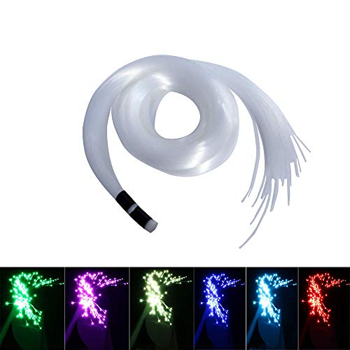 Fiber Optic Cable Kit - Huaxi Fiber Optic Light Cable End Glow PMMA Plastic Cable 100pcs Ф0.03in(0.75mm) 6.5ft/2m for LED Star Ceiling Sky Light Kit and Fiber Optical Lighting Decoration