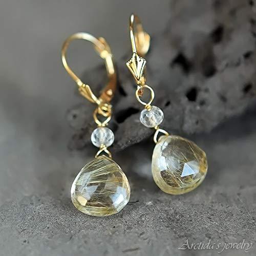 (Golden Rutilated Quartz earrings 14K solid gold jewelry bridal earrings rutile quartz drops - Venus Hair )