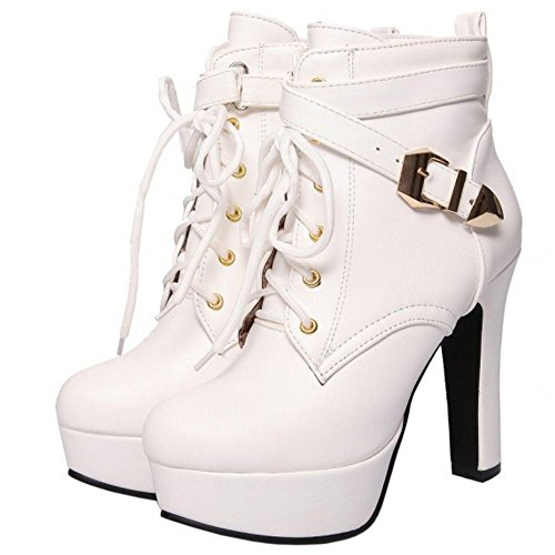Platform Heel High TAOFFEN Women Autumn Boots White Block Winter qwwSXYv