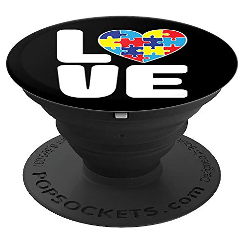 (Love Puzzle Jigsaw Autism Awareness Mom Dad Phone Grip - PopSockets Grip and Stand for Phones and)