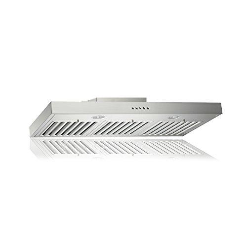 KOBE RAX2136SQB-1 Brillia 36-inch Under Cabinet Range Hood, 3-Speed, 750 CFM, LED Lights, Baffle Filters
