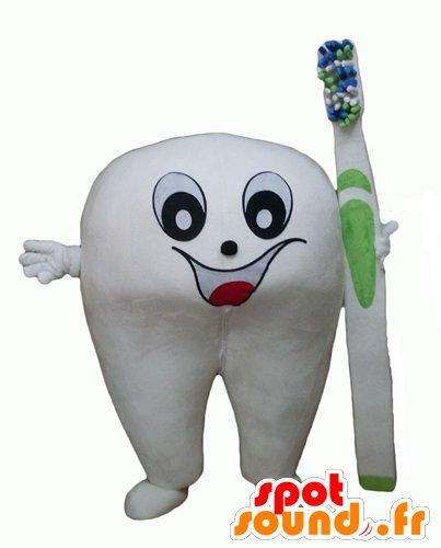 La mascota SpotSound del diente blanco gigante con un cepillo de dientes: Amazon.es: Juguetes y juegos