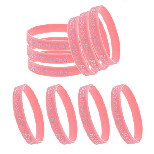 Bozoa Pink Ribbon Bracelets - Breast Cancer Awareness Hope Faith Courage Strength Pink Silicone Rubber Bracelets(10Pcs)