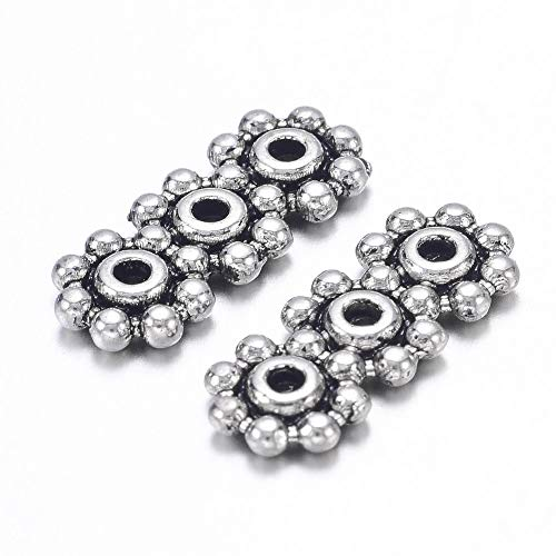 Pandahall 50pcs Tibetan Style Antique Silver Tone 3 Holes Rectangle Spacer Bar Link Connectors Multi Strand Separator Radial Flower Jewelry Making (Three Hole Spacer)