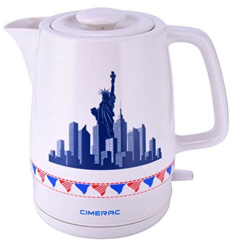 CIMERAC 1.7L Electric Ceramic Tea Coffee Water Kettle With Detachable Base And Boil Dry Protection,Statue of Liberty