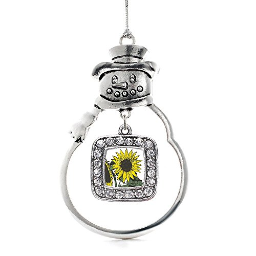 Inspired Silver Sunflower Classic Snowman Holiday Decoration Christmas Tree Ornament