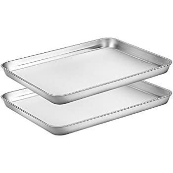Baking Sheets Set of 2, HKJ Chef Cookie Sheets 2 Pieces & Stainless Steel Baking Pans & Toaster Oven Tray Pans, Rectangle Size 12L x 10W x 1H inch & Non Toxic & Healthy & Easy Clean