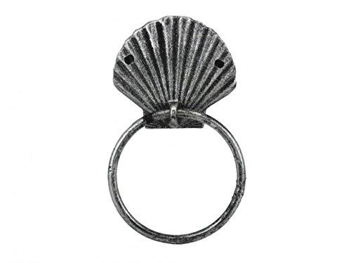 - Hampton Nautical Antique Silver Cast Iron Seashell Towel Holder 8.5 Inch - Seashell Decoration - Sea Home Decor