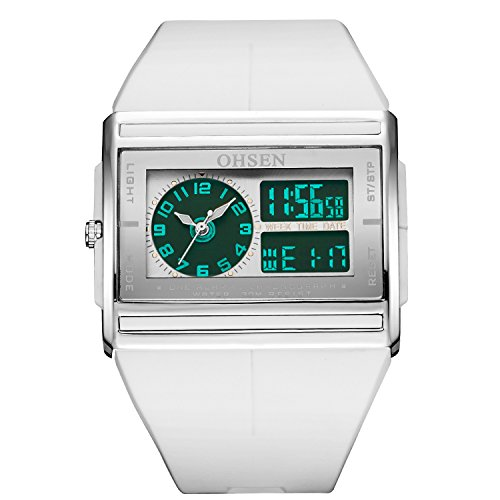 OHSEN Womens Digital Watch LCD Light Color White