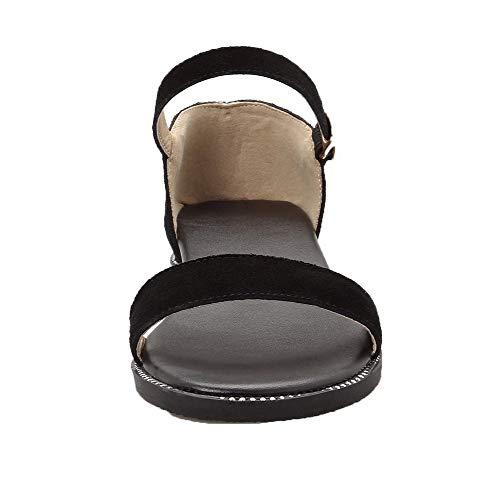 Ouverture Boucle Talon Noir Cuir Femme AalarDom Sandales Bas PU TSFLH006116 d'orteil à Ixq767REwX