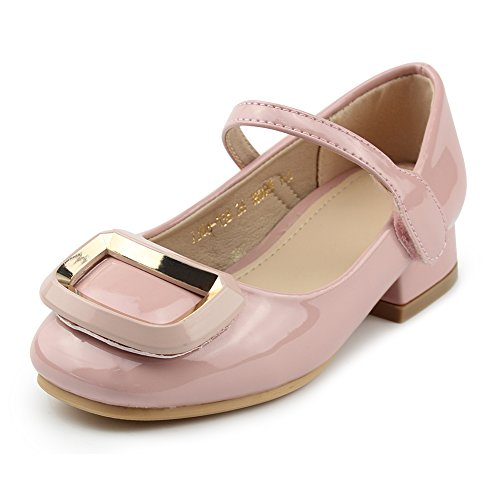 Chiximaxu Kid Dress Sandals Low Heel Mary Jane Buckle Pumps for Little Girl,Pink,Toddler Size 9.5 -