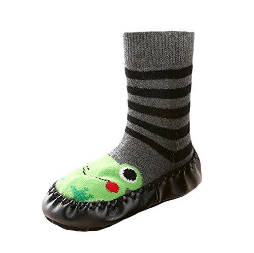 Infant Baby Cartoon Patterned Soft PU Leather Bottom Anti-slip Floor Socks Boots