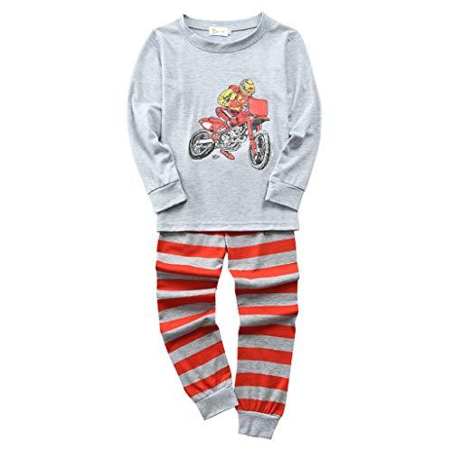 iNoDoZ Toddler Kids Baby Boys Cartoon T Shirt Tops & Pants Pajamas Sleepwear Outfits Set Children Clothing (120, Yellow/2)