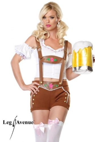 Leg Avenue Beer Girl Costume (Leg Avenue Women's Little Miss Lederhosen Costume, Brown/White,)