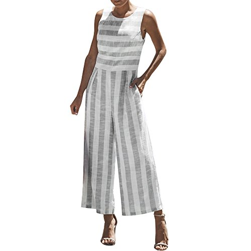 (vermers Women Casual Clubwear Jumpsuits Summer Sleeveless Striped Wide Leg Pants Outfit Romper (S,)