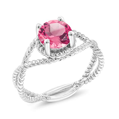 Gem Stone King 1.30 Ct Round Pink Mystic Topaz 925 Sterling Silver Rope Designed Ring (Size 7)