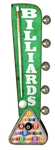 Antique Led Sign - Billiards Sign, Illuminated By Battery Powered Large LED Lights, Double Sided Metal Tin Marquee Display, Wall Decor Designed To Have A Distressed Finish