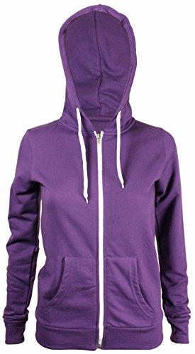 Purple Hanger - Sweat À Capuche Pour Femme Manches Longues Polaire Avec Glissière Neuf - 36, Violet