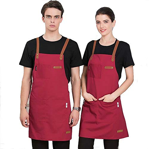 Pavel Korchagin Canvas Apron for Cafe Chef Waiter Restaurants Bars Florist, Adjustable Working Uniforms with Pockets for Men & Women Graceful (Deep Red)