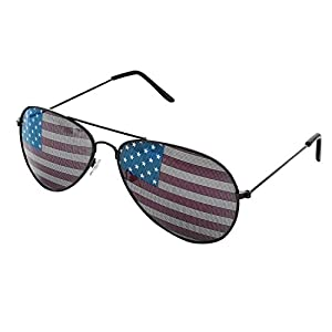 American USA Flag Design Metal Frame Aviator Unisex Sunglasses with Print Patterned Lens for Sun Protection, Driving, Eye Wear by Super Z Outlet (Black)