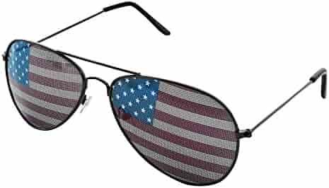 8074ca970443 Super Z Outlet American USA Flag Design Metal Frame Aviator Unisex  Sunglasses with Print Patterned Lens