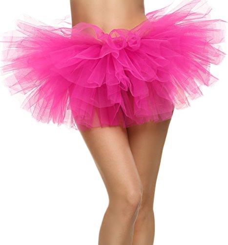 Hot Pink Tutu (Avidlove Women Sexy Organza Tutu Multi-layers Party Dance Skirt Boutique Ballerina Dress Petticoat)