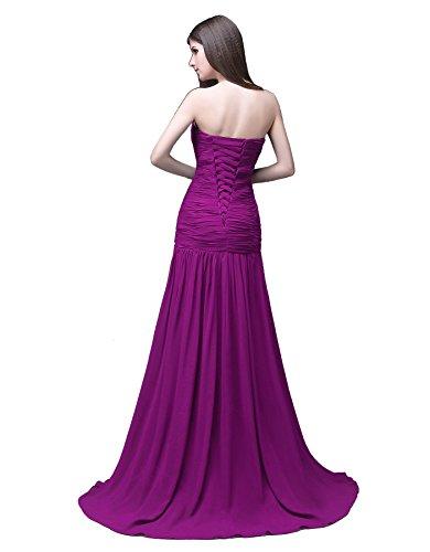 Perlen Chiffon Prom Ärmel Kleid Abendkleid Edaier Kappe Lila Damen 57qwHwIO