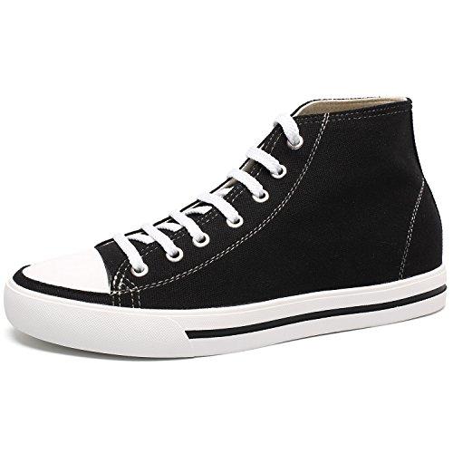 CHAMARIPA Canvas Scarpe da Ginnastica con Rialzo Sneaker a Collo Alto Uomo Fino a 6 cm - H52C08K011D Nero02