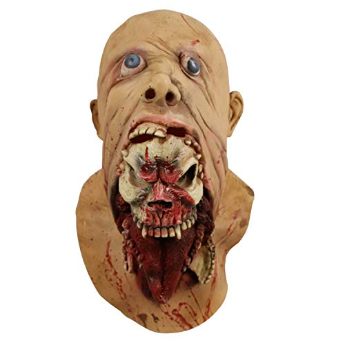 Disgusting Rot Face Skull Mouth Zombie Mask Walking Dead Meat Biohazard Halloween Costume Party Creepy Latex Mask -