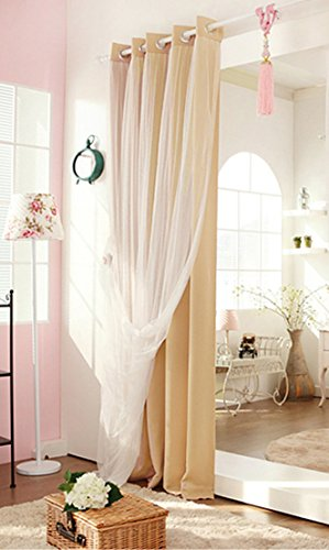 Didihou Voile Mix Match Blackout Curtain Elegant Panel Double Layer Darkening Thermal Insulated Window Treatment Grommet Drapes for Living Room Girls Bedroom, 1 Panel (42W x 63L Inch, Cream) (Girls Cream Bedroom Furniture)