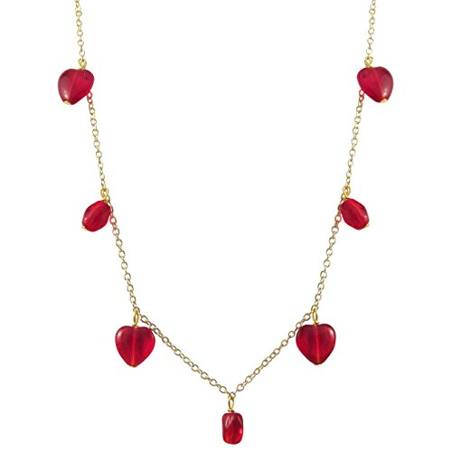 GRACE HARPER Gold Finish Red Heart Lucite Beads Station Necklace
